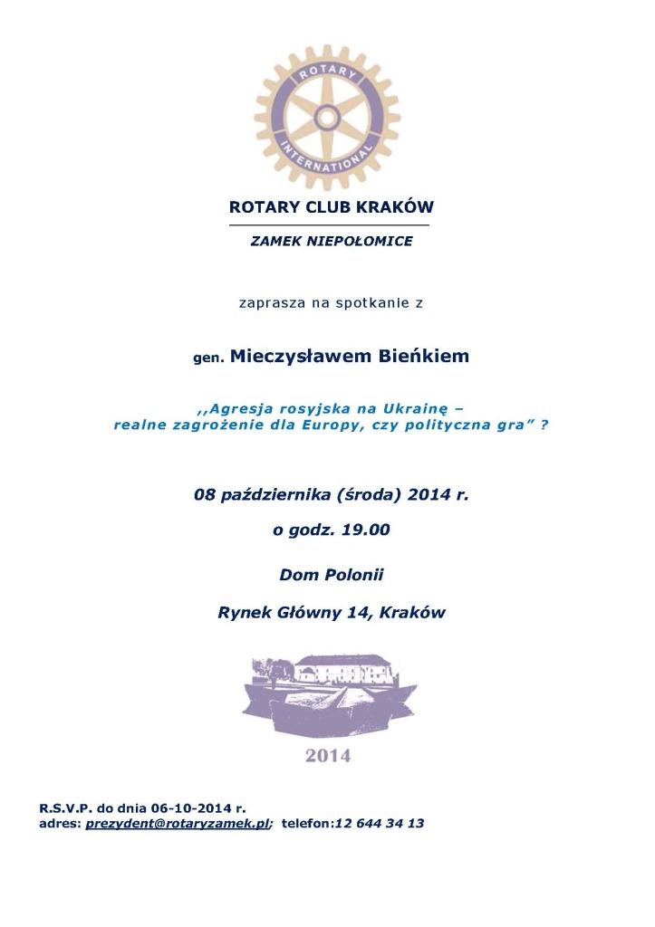 Zaproszenie - spotkanie z gen. Bieńkiem